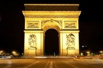 Just one of Paris's iconic landmarks, the Arc de Triomphe at night